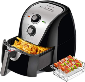 Air Fryer with French Fries Inside Basket
