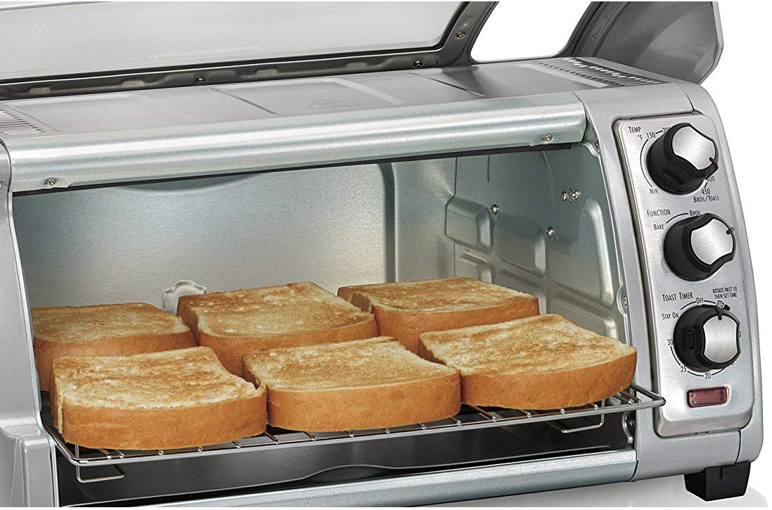 Toaster oven with toast inside